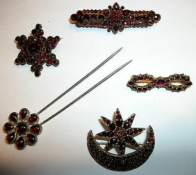 4 ANTIQUE Czech BOHEMIAN GARNET PINS with ROSE CUT STONES and 1 HAT HAIR PIN