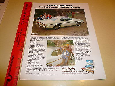 1974 Plymouth Gold Duster Ad Advertisement Vintage