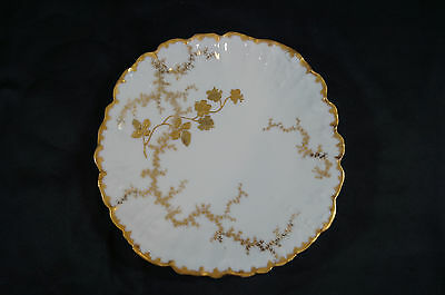 Unmarked Martial Redon or Charles Ahrenfeldt Limoges Gold Floral Plate C. 1900