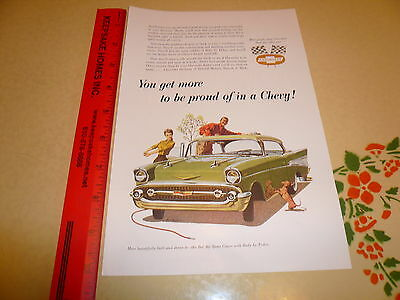 1957 Chevrolet Bel Air Sport Coupe Two Tone Ad Advertisement - Vintage