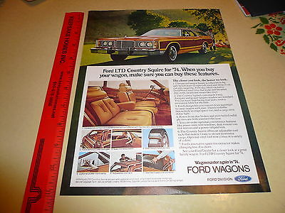 1974 Ford Country Squire Ad Advertisement Vintage