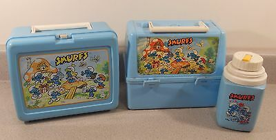 Vintage 1980s THERMOS SMURFS 2 Plastic Lunchbox 1 Bottle