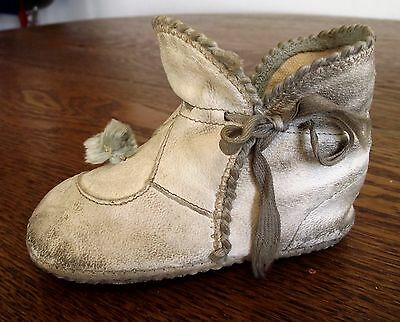 Antique Child's Leather Shoe with Pom Pom and Fancy Edging (Only One)