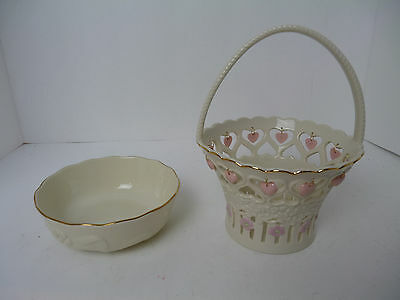 Lenox basket with Hearts and Bowl . Excellent Condition! basket 9""