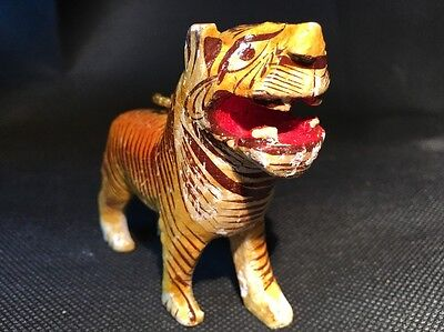 Vintage Mexican Folk Art TIGER Paper Mache Hand Painted Circus Animal Ornament