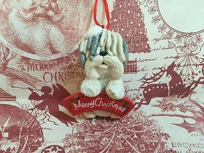 Ooak Old English Sheepdog Gift Clay Dog Sculpture Ornament Christmas  Holidays