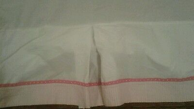Pottery Barn Kids Pink White Crib Skirt Dust Ruffle Excellent Used Condition