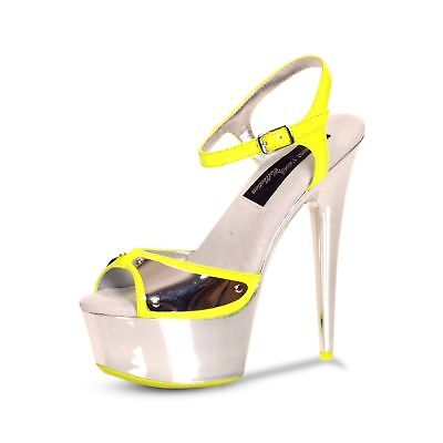 "The Highest Heel Woman's Amber-751-Neon Yellow 6"" Vamp Detail Platform US Size"