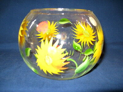 CLEAR GLASS FISH BOWL painted SUNFLOWERS LADY BUGS