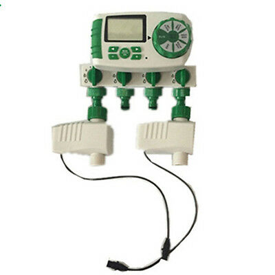 Automatic 4-Zone Smart Irrigation System Garden Water Timer with 2 Valves