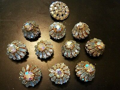 Vtg 11pc Irridecent Crystal Rhinestone Victorian Style High End Fancy Buttons