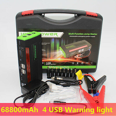 AU Portable Multifunction 68800mAh 4USB Power Bank Car Jump Starter Pack Charger
