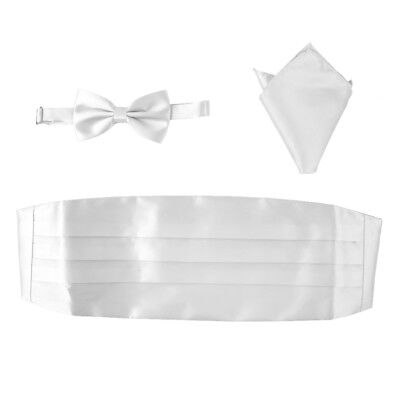 Men's Satin Bow Tie Cummerbund Hanky Handkerchief Set White Tuxedo Wedding