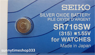 SR716SW/315, Seiko Watch Battery, Made in Japan, Silver Oxide, 1.55V