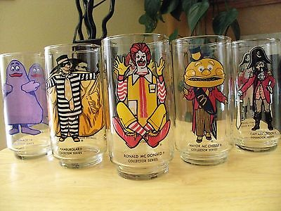 1977 McDonalds Collector Series Glass Tumblers - Set of 5