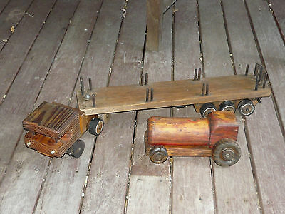 2x Vintage Handcrafted Toy Semi Trailer Truck & Tractor Shabby Wooden Decor
