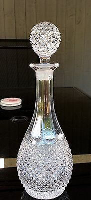 Stunning Crystal Glass Hob Nail Decanter & Matching Stopper.