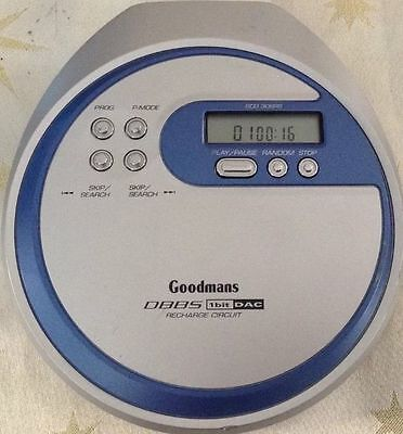 Goodmans GCD 308RSB Personal CD Player Portable Blue and Silver