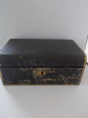 Vtg Shabby Chic Distressed Victorian Jewellery or Writing Box Faux Shagreen