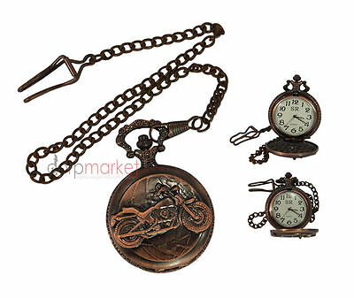 Handmade Vintage Replica Pink Bike Designed Pocket Watch with long chain