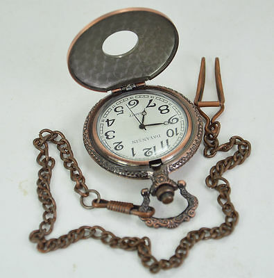 Handmade Vintage Horoscope Circle Design Pocket Watch With Long Chain
