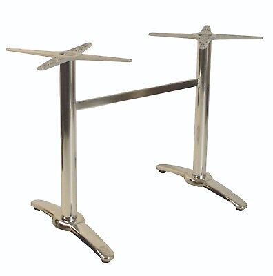 Chrome Aluminium Twin Restaurant Outdoor Table Base Restaurant Cafe Dining Bar