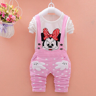 2PCS Baby kids Girls Minnie Tops+pants Pink rompers Strap Outfits clothes 18-24M
