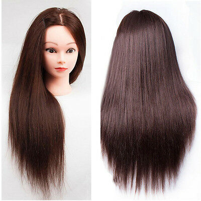 100% Real Human Hair Hairdressing Traning Head Mannequin Doll Practice + Clamp