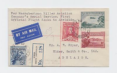 First Flight Cover 23rd Feb 1934 MacRobertson Miller Aviation Kimba to Adelaide