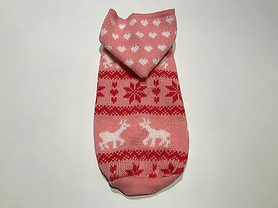 Pink Reindeer Snowflake Dog Puppy Jumper Christmas Winter Clothes Sweater Xmas