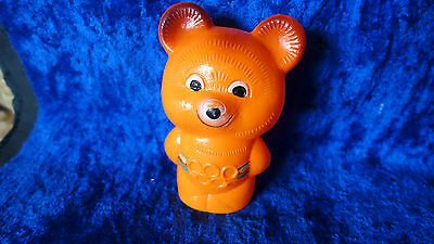 80s Moscow Olympic games Misha bear figurine/celluloid baby rattle