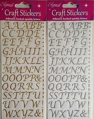 Eleganza 55 Gold Or Silver Stylised Alphabet Letter Self Adhesive Craft Stickers