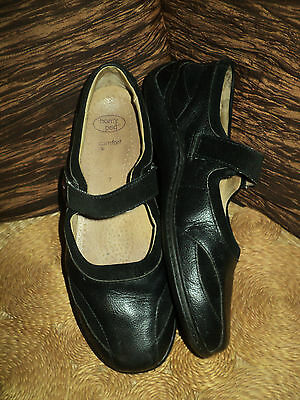 Ladies Black Leather Homy Ped Mary Jane Velcro Fasten Work Shoes - Size 7 - Vgc