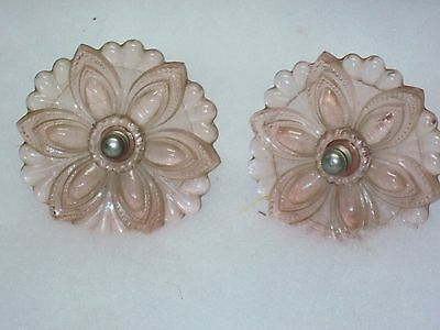 TWO Vintage CORAL PINK Depression Era Glass Curtain Tiebacks, Flower