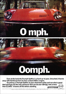 Triumph Spitfire Retro A3 Poster Print From 70's Advert