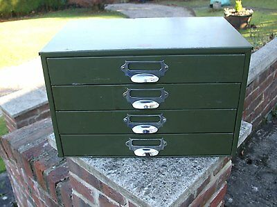 Vintage Metal Veteran Series Industrial 4 Drawer Cabinet Very Clean
