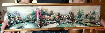 Lamplight Village - 3 Plate set with Wall Stand - Bradford Exchange 1997