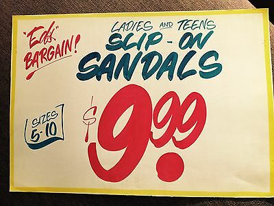 Honest Ed's Eds Rare Large Hand Painted  Sign Fashion Sandals
