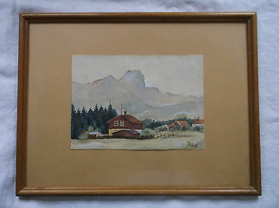 FRAMED WATERCOLOUR PAINTING signed A LARGE EUROPEAN MOUNTAINSCAPE