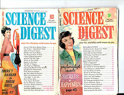 Lot Of 8 1955-1956 Science Digest Magazines-- Vintage-Rare