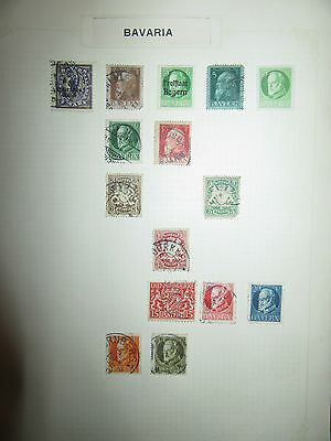 1876 onwards BAVARIA stamp selection,  on album page