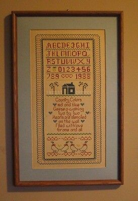 Completed Finished Cross Stitch Sampler ABC Verse Geese Framed