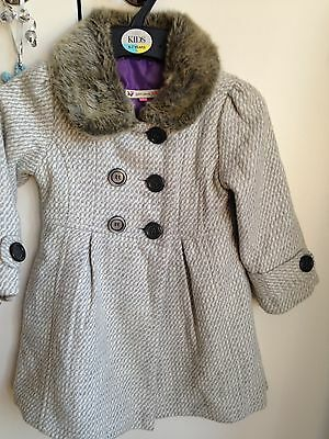 John Lewis Girl's Dress Coat With Fir Collar Aged 3years