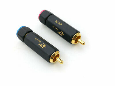 2pcs Gold Plated brass RCA plug-in Locking  connector adapter