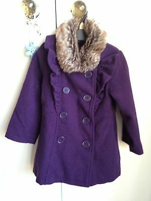 Mini Club Girls Smart Winter Coat Aged 2-3 With Fir Collar