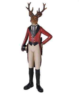 Dressed Deer / stag in red riding outfit riding boots and hat ornament