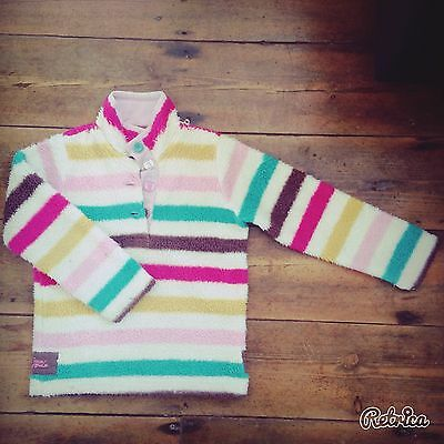 Joules girls stripy fluffy jumper