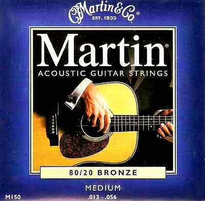 Martin 80/20 Bronze Acoustic Guitar Strings Medium Gauge 13-56 (M150)
