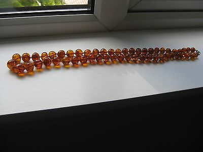 Vtg Antique Natural Baltic Cognac Amber Beads Necklace  29.5 Inches Long 74.5 Cm