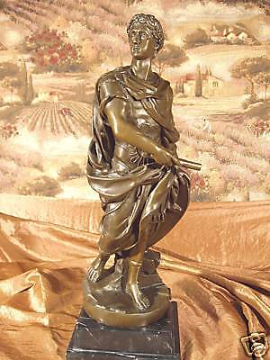 Rare Bronze Metal Statue on Marble Classical Roman Greek Scholar GIFT Sculpture